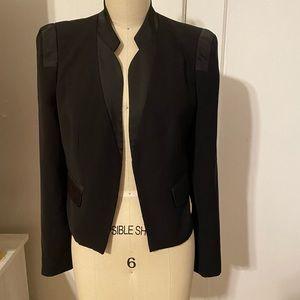 Satin detail cropped tuxedo style blazer